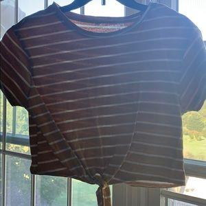 Shein yellow striped T-shirt crop top